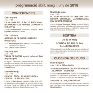 AULES DIFUSIÓ abril maig juny 2018